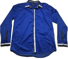Albertini Mens 3XL Royal Blue Check Accent Long Sleeve Button Lined Dress Shirt