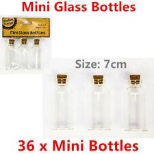 36 x Mini Clear Glass Bottle 7CM Art Craft DIY Home Decor Accessories Souvenir