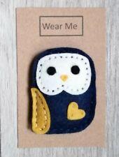 A Cute Handmade Navy Felt Owl brooch - 6cm tall on card for gift