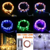 50/100/200LED USB Remote Micro Copper Wire String Fairy Lights Xmas Party Decor