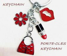 New Crystal Lady Lipstick Makeup Flower Lips Purse Bag Keychain enamel charm