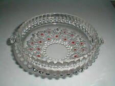 Walther Glas Germany Cabaret Fabiola Clear Glass w Red Daisy Candy Dish/Bowl