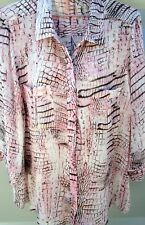 SUZANNE GRAE SZE 16 PINK CREAM & BROWN 3/4 SLEEVE BUTTON UP SHIRT BLOUSE EX CON