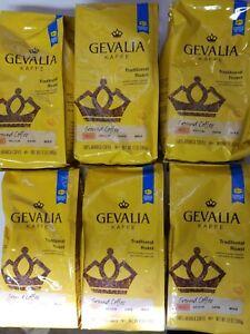 (6 Pack) Gevalia Traditional Roast Mild Ground Coffee 12oz, 100% Arabica 11/2021