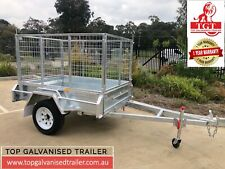 6x4 Single Axle Galvanised trailer tipper with 900mm Cage 750 kg ATM New Tyers