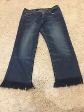 7 For All Mankind Fringed Flocked Hem Boot Cut  Jeans