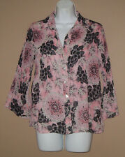 Womens Size Medium 3/4 Long Sleeve Fall Fashion Crimped Floral Blouse Top Shirt
