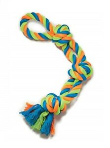 """Mighty Bright Dog Rope Toy Double Tug Rugged Tied Colorful Knot Loop Chew 22"""""""