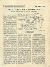 Zenith Series VN Carburettors Motor Trader Service Supplement No. 270/C24 1957