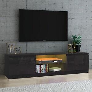 Modern Large TV Unit Stand Cabinet Black High Gloss Doors & Matt Body LED Lights