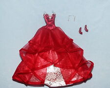 LUXURIOUS! Red & Silver Ruffled Sleeveless Formal Genuine BARBIE Gown w/ Shoes