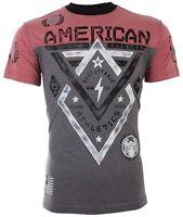 AMERICAN FIGHTER Mens T-Shirt ALASKA Athletic BLACK RED Biker Gym MMA $40