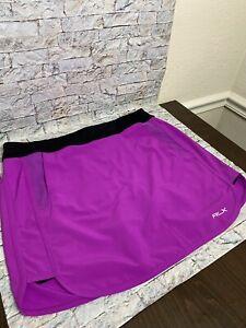 RLX Ralph Lauren Large Purple Black Golf Skirt Skort w Side Pockets