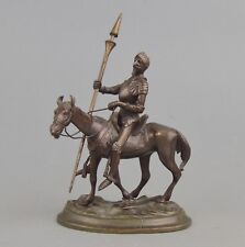 Miniature statuette de Don Quichotte en bronze patiné
