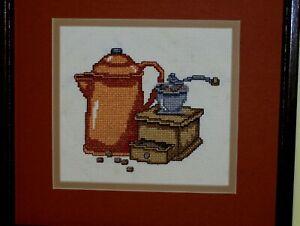 Happy Morning Coffee Grinder & Pot Framed Needlepoint Art Crewel HAND MADE VINTG