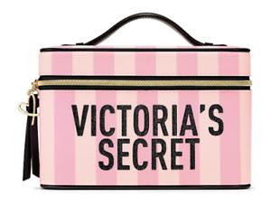 Victoria's Secret Signature Stripe Runway Vanity Case Makeup Bag NWT