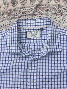 "THOMAS PINK - Classic - White - Blue Check - Button Cuff - Shirt -18"" Collar"