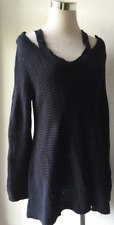 NWT Style & Co. Cutout High-Low 100% Cotton Sweater Color: Deep Black Size: L