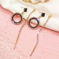 Elegant New Silver Long Crystal Ring Earrings Women Asymmetry Stud Jewelry Gifts