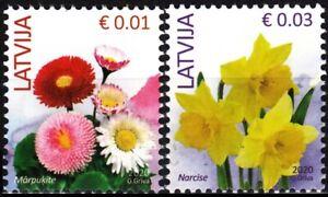 "LATVIA 2020-12 Definitive: FLORA Flowers. 0.01 0.03 Reprints date ""2020"", MNH"