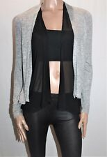 Katies Brand Grey Melange Black Chiffon Double Cardigan Size S BNWT #SG110