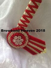 """Red and Gold Satin Show Browband. Any Size. Made to order.  3/4"""" leather base."""
