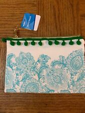 School Pencil Pouch Green/Blue Floral