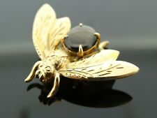 Solid 14ct Gold BEE BROOCH Polished Agate Body 3.8 grams Manchester Lady's
