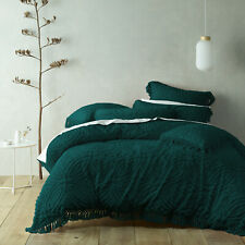 Bianca Savannah Soft Cotton Chenille Tufted Quilt Cover Set Teal