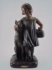 Statue Statuette Plâtre Polychrome Fillette Fille et chien France numéroté 640