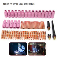 63PCS TIG KIT & TIG Welding Torch Accessories FIT WP17 18 26 Series Ceramic Cups