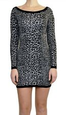 French Connection Leopard Jacquard Round Neck Sweater Dress Grey/Blac 2 New $118
