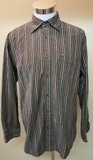 Faconnable Men's Brown Striped Long Sleeve Shirt Designed in France Size Large