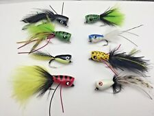 Fishing Bass Pike Flies 10 PACK POPPERS Size 2-4 Saltwater Trout Perch 'PIK2