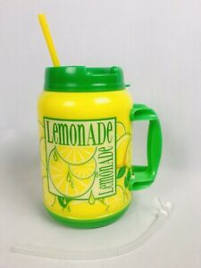 64 Oz Tanker LEMONADE Insulated Mug Whirley Drink Works Thermos Cup USA Straws