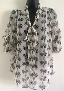 Ex Ladies Palm Tree Print Black & White Bow Tie Up Chiffon Blouse Top Size 8-20