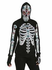 🔥Hot Topic Glow In The Dark Sugar Skull Girls Full Zip Hoodie Jacket 🔥