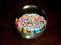 Millefiori Glass Paperweight Murano Italy Flowers Colorful