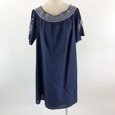 Isabel Maternity Womens Size XXL Shift Dress Navy Blue Embroidered Floral