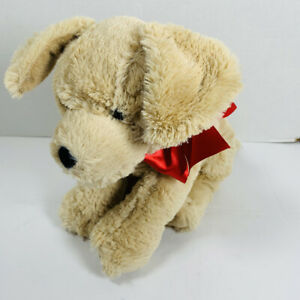 Melissa & Doug PRINCESS SOFT TOYS TAN PUPPY DOG w/ Red Bow STUFFED ANIMAL PLUSH