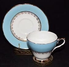 Sutherland HM Bone China England,  Light Blue, White & Gold, Cup & Saucer Set
