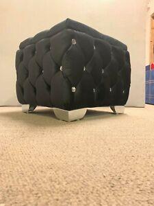 Black plush  velvet 18 x18 x 15 ottoman storage stoole with chrome feets