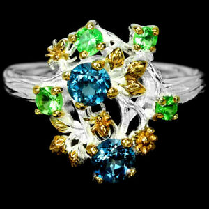 GENUINE LONDON BLUE TOPAZ & TSAVORITE GARNET STERLING 925SILVER FLOWER RING 6.25