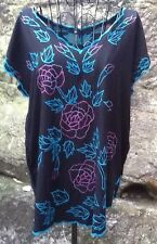 Size 10 12 Black Red Rose Top EUC Casual Party Beach Summer Hippy Boho
