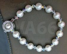 Swarovski Pearl Bracelet Handmade Colours 18K Zircon Buckle Clasp Gelang Mutiara