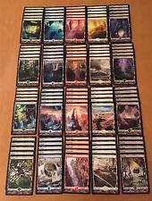 100 Full art Zendikar Lands - 20 Each WUBRG (5 of each different art) - MTG