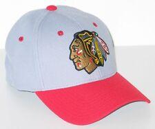 CHICAGO BLACKHAWKS NHL HOCKEY ATHLETE LIGHT GRAY FLEX FIT FITTED HAT/CAP M/L NEW