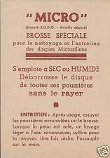 Publicité Notice MICRO Brosse Nettoyage Entretien Disques Microsillons_version 2