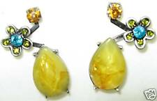 Colourful Pink Yellow Austrian Crystal Flower EARRINGS