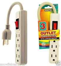 3 Outlet Power Strip With Lighted Switch Safety Circle Breaker 7in cord